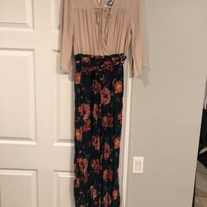 NWT! Beige/ Green floral Jumpsuit